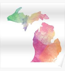 Watercolor Michigan Poster