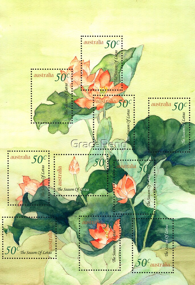 Lotus Stamps by GracePeng
