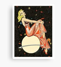 Blond woman on a planet, science fiction, fantasy, vintage poster Canvas Print