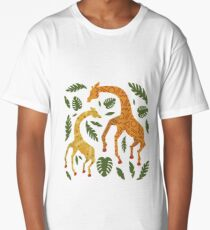 Dancing Giraffes with Patterns Long T-Shirt
