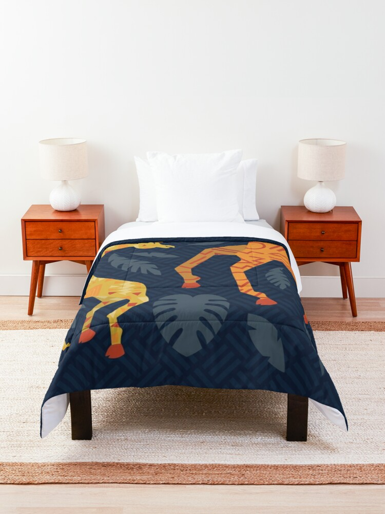 Alternate view of Dancing Giraffes with Patterns Comforter