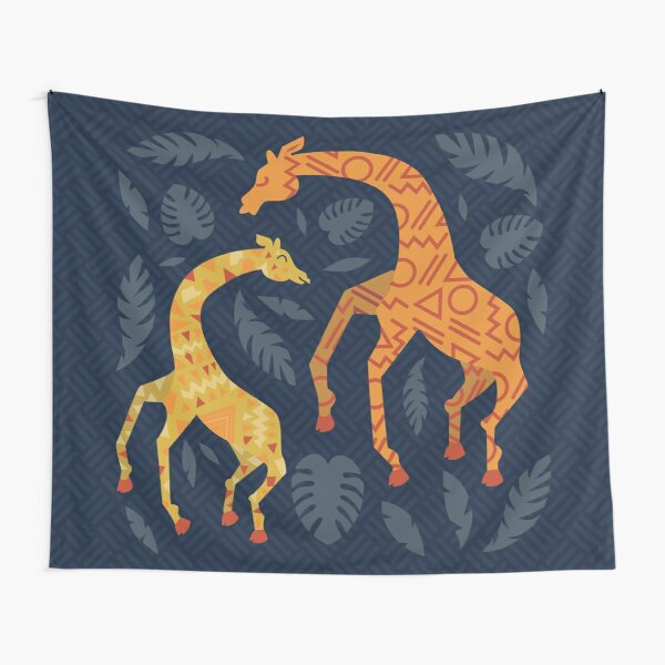 Dancing Giraffes with Patterns Tapestry