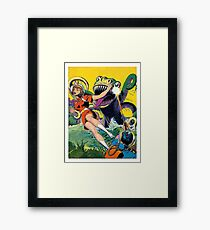 Green monster attack from the water, sci-fi, fantasy poster Framed Print