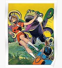 Green monster attack from the water, sci-fi, fantasy poster Poster