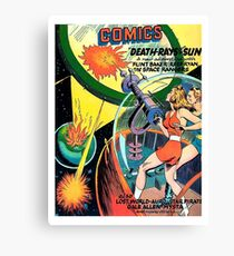 Death rays from the sun, science fiction, fantasy, vintage poster Canvas Print