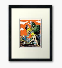 Green monster attack dark haired, young woman, sci-fi, fantasy poster Framed Print