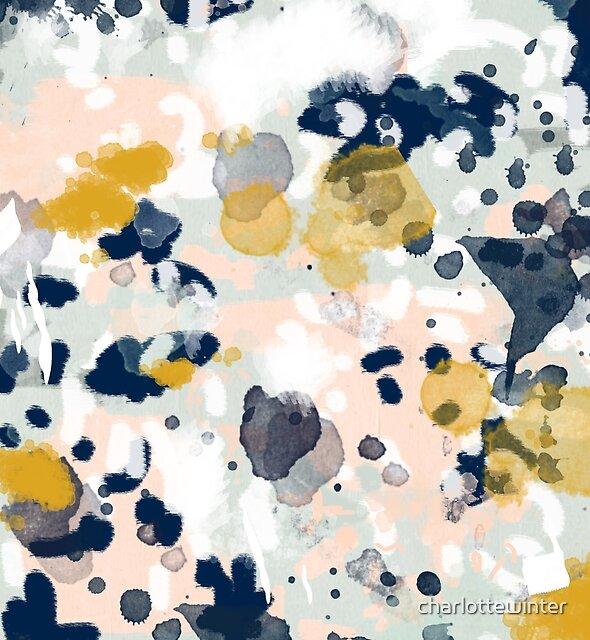 Esther - minimal trendy painting mint gold pastel nursery decor minimalist by charlottewinter