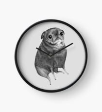 Sweet Black Pug Clock