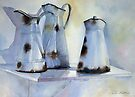 Old Enamel Pitchers by Ann Mortimer