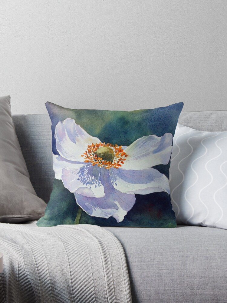Japanese Anemone Throw Pillow By Annmortimerart Redbubble