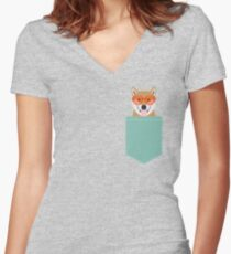 Shiba Inu - Cute shiba inu gifts for dog lovers dog owner gifts ideas cute shiba inu puppies Women's Fitted V-Neck T-Shirt