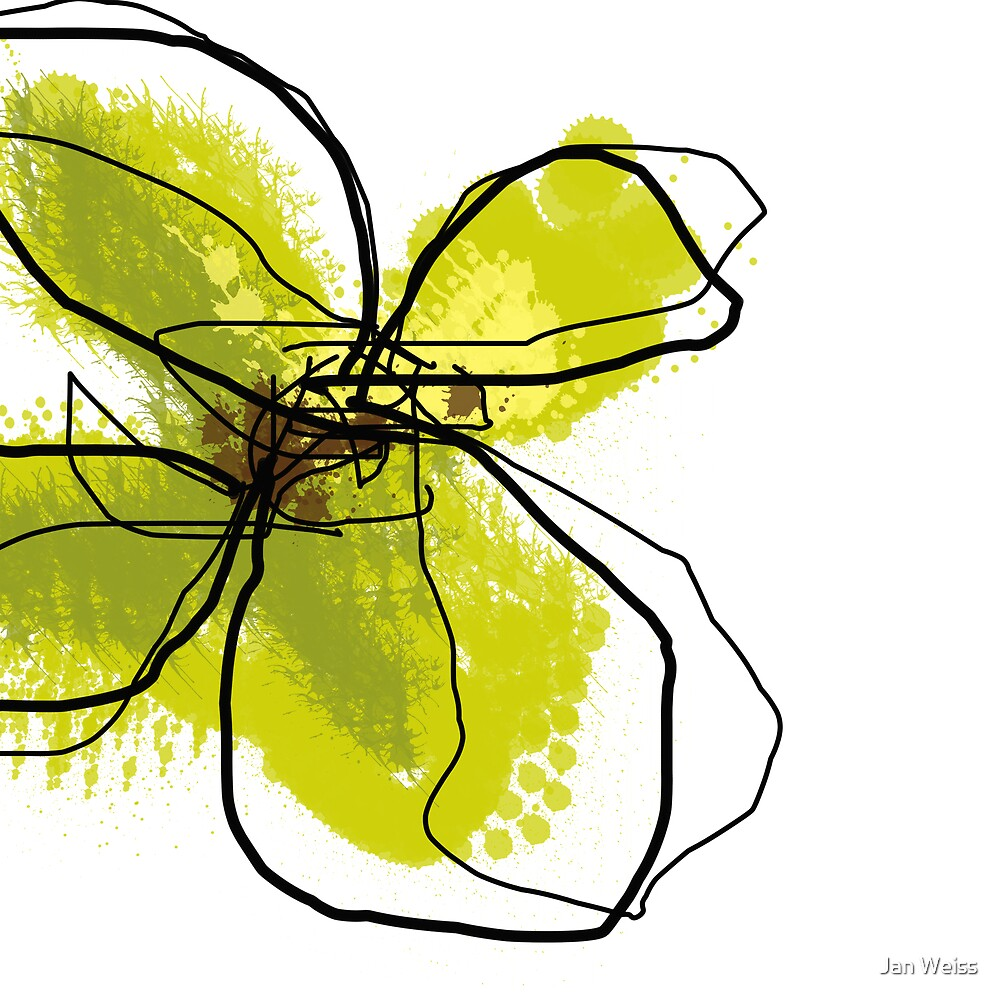 Green Butterfly Floral by Jan Weiss