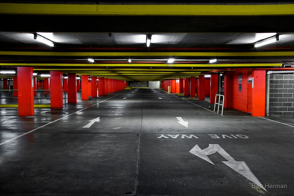 Empty Car Park Red Yellow by Ben Herman