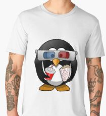 MOVIES AND CHILL 3-D PENGUIN FUNNY Men's Premium T-Shirt