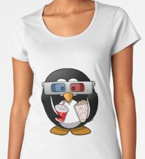 MOVIES AND CHILL 3-D PENGUIN FUNNY Women's Premium T-Shirt