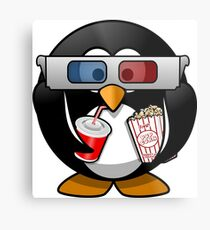 MOVIES AND CHILL 3-D PENGUIN FUNNY Metal Print