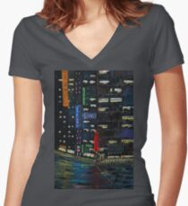 Cyberpunk City Painting Women's Fitted V-Neck T-Shirt