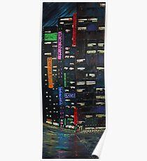 Cyberpunk City Painting Poster