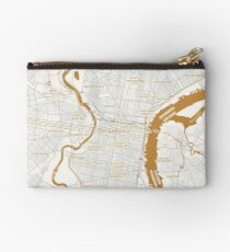 Gold Metallic Map of PHILADELPHIA by UpToDate Studio Pouch