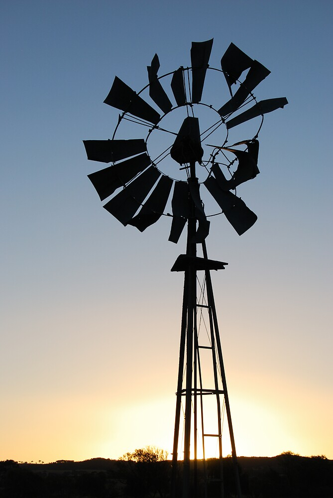 Failing Windmill at Sunset by Peter Clements