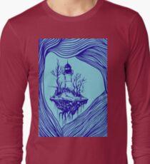 Flying lighthouse among the waves, blue outline, surrealistic landscape Long Sleeve T-Shirt