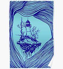 Flying lighthouse among the waves, blue outline, surrealistic landscape Poster
