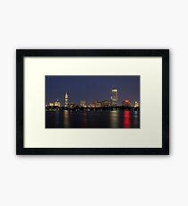 Boston City Skyline At Night Framed Print