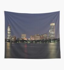 Boston City Skyline At Night Wall Tapestry