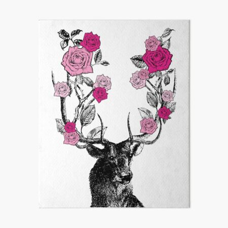 The Stag and Roses | Deer and Roses | Stag and Flowers | Deer and Flowers | Vintage Stag | Antlers | Woodland | Highland | Pink |  Art Board Print