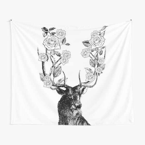 Elk Oil Painting Tapestry Whitetail Deer Fawn in Wilderness Stag Wide Wall Hanging for Bedroom Living Room Dorm