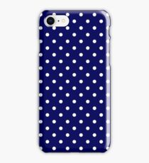 Navy Blue and White Spotty Polka Dot Pattern iPhone Case/Skin