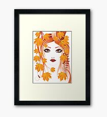 Autumn Girl face 4 Framed Print