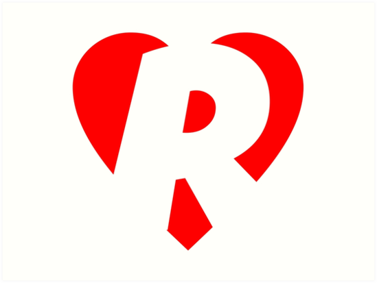 quoti love r heart r heart with letter rquot art prints by