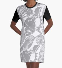 Grey seashells pattern Graphic T-Shirt Dress