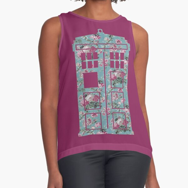 Floral Police Box Sleeveless Top