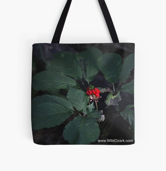 American Ginseng w/red Berries All Over Print Tote Bag