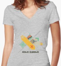 High Enough Retro art Women's Fitted V-Neck T-Shirt