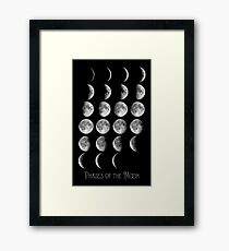 Astronomy Chart, Phases of the Moon, Lunar chart Framed Print