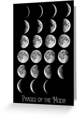 Astronomy chart phases of the moon lunar chart greeting cards by