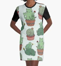 Cactus Cats Graphic T-Shirt Dress