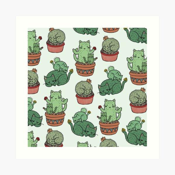 Cactus Cats Art Print