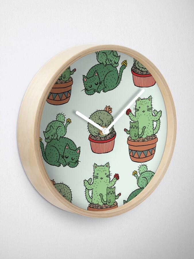 Alternate view of Cactus Cats Clock