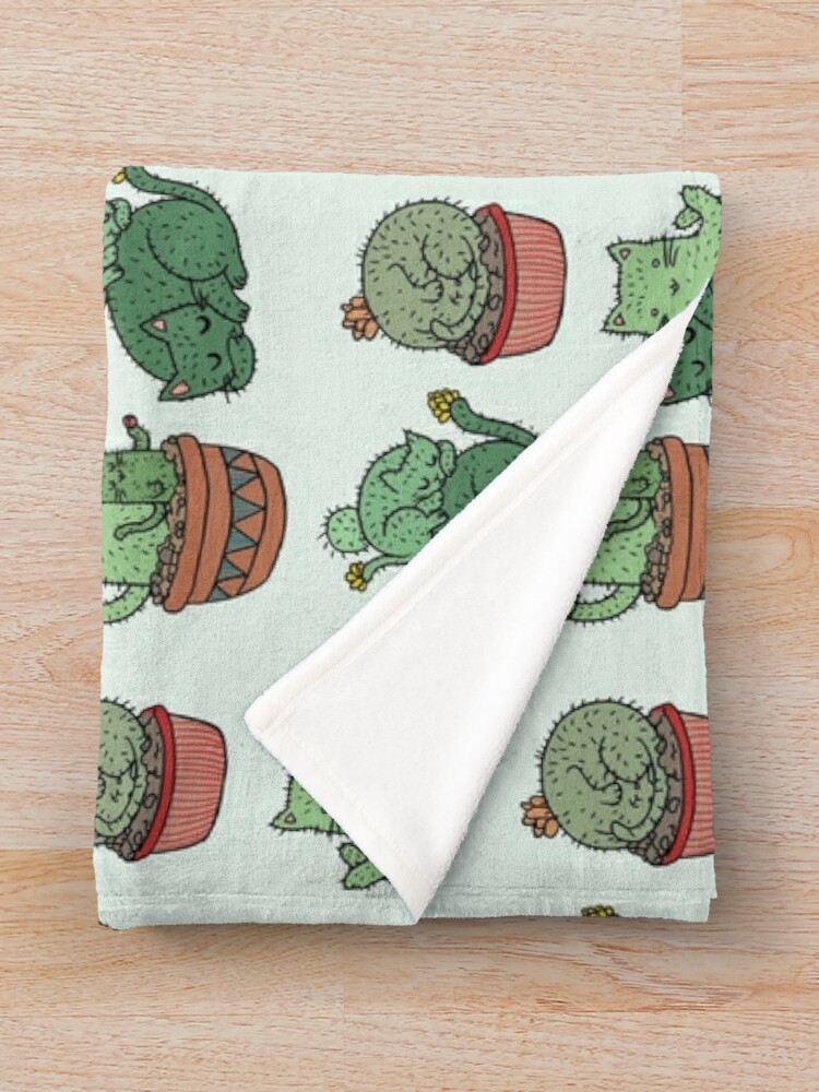 Alternate view of Cactus Cats Throw Blanket