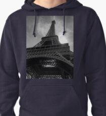 Eiffel Tower in Black & White Pullover Hoodie