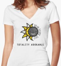 Solar Eclipse 2017 Shirt - Totality Adorable - August 21, 2017 - White Women's Fitted V-Neck T-Shirt