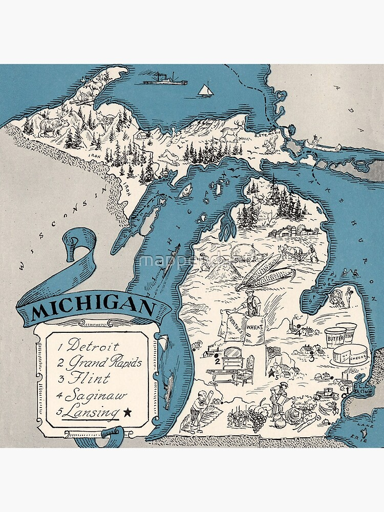 Vintage 1926 Michigan state map - Christmas gift idea by mappendant