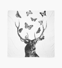 The Stag and Butterflies | Black and White Scarf