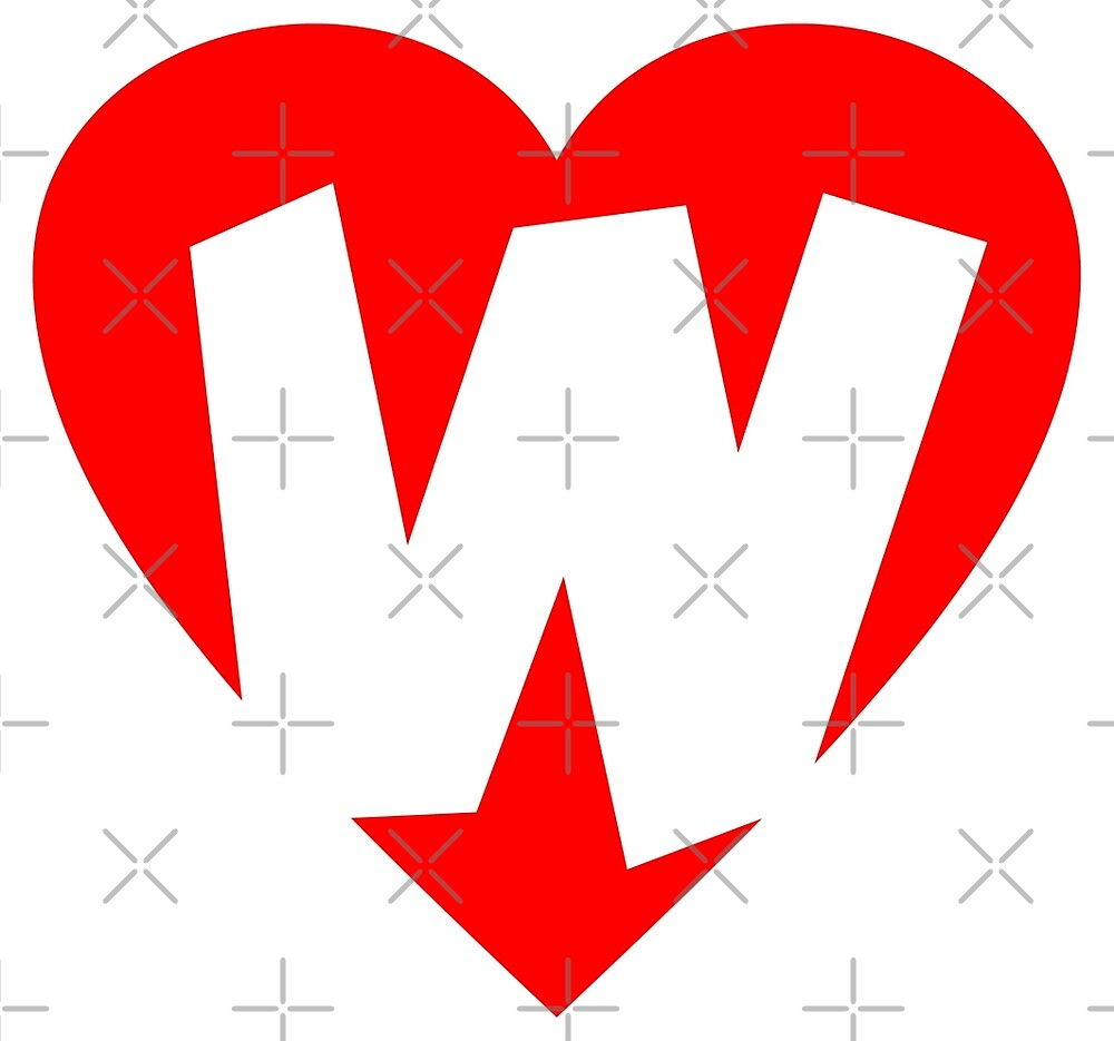 I love W - Heart W - Heart with letter W by theshirtshops