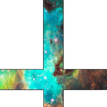 Green Galaxy Inverted Cross White by rapplatt