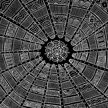 Tribal Circles - White on Black by susanchristophe